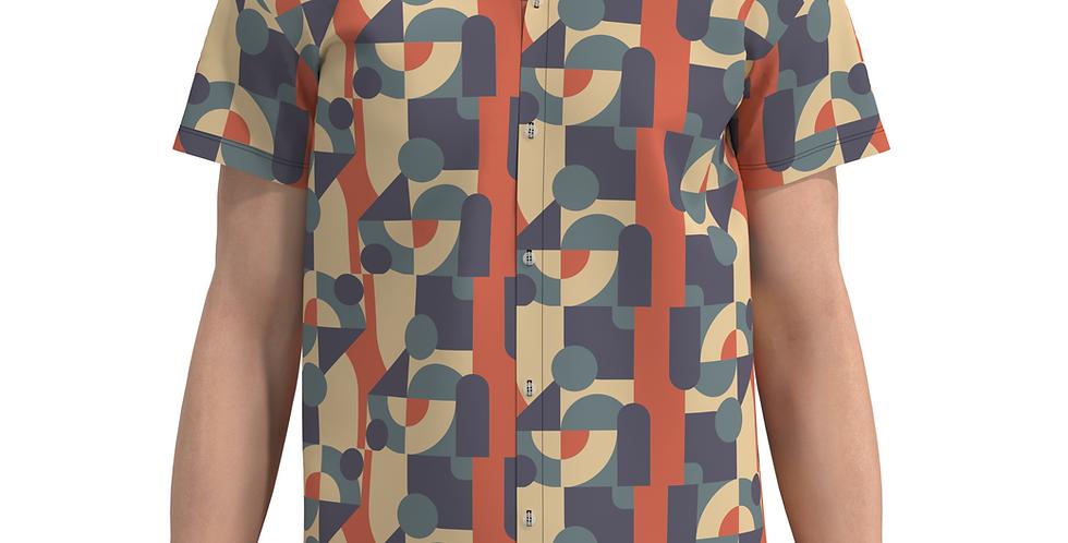 Camisa Estampa Total Geométrica De Botão Manga Curta