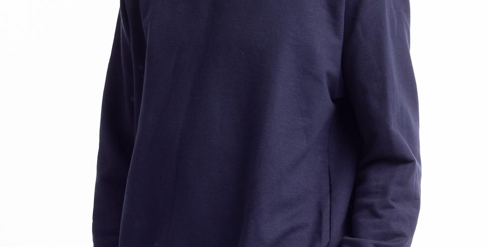 Moletom Careca  Básico Punho E Barra Em Ribana Azul Marinho
