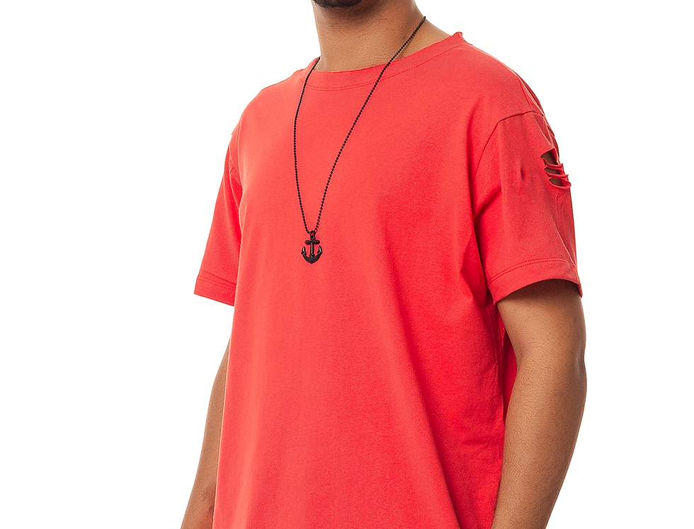 Camiseta Longline Oversized Destroyed Rasgada Barra Redonda Vermelha