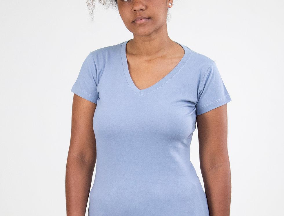 Camiseta Básica Gola V 100% Algodão Azul Claro