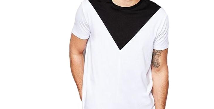Camiseta Recorte Geométrica 100% Algodão Básica Meio Swag Branca