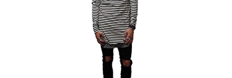 Camisa Listrada Listra Estampa Total Masculina Oversized Ml Preto