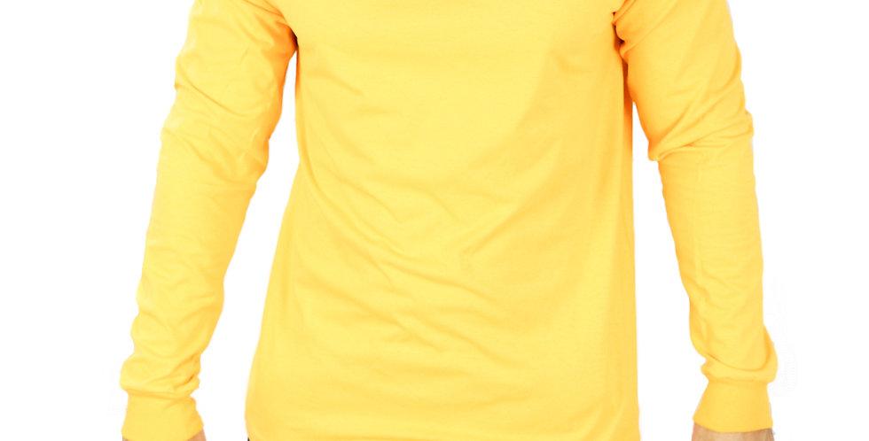 Camisa Basica Manga Comprida Manga Longa 100% Algodão Amarelo