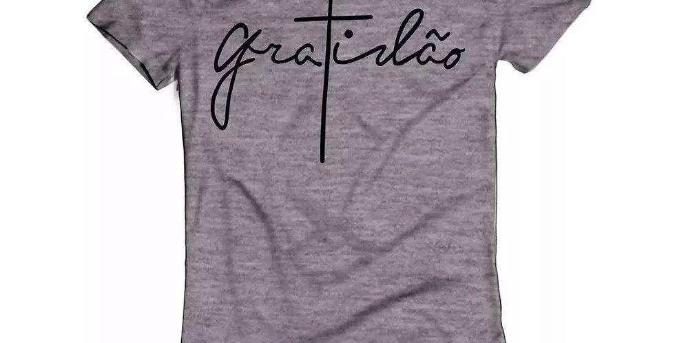 Camiseta Oversized Longline Estampa Gratidão Barra Redonda Cinza