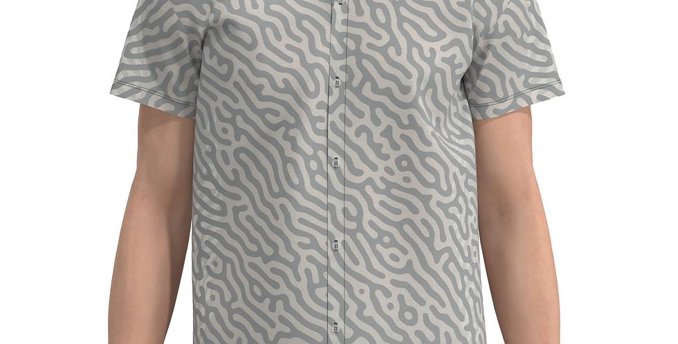 Camisa Estampa Total Algas Cinza De Botão Manga Curta Meio