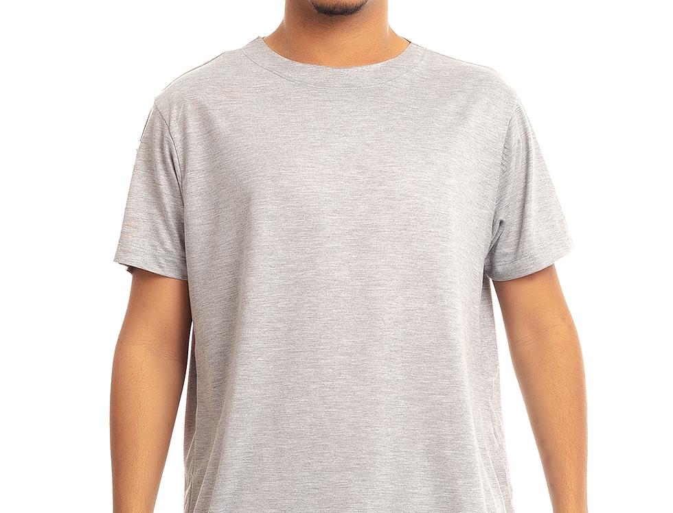 Camiseta Longline Oversized Destroyed Rasgada Barra Redonda Cinza