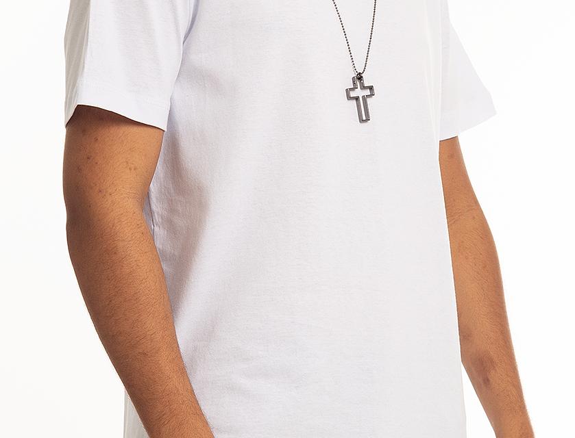Camiseta Oversized Longline Masculina com Zíper Lateral Canoa Swag Branco