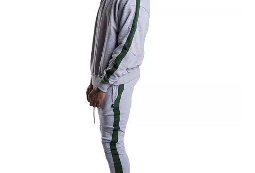 Conjunto Calça e Casaco Track Pants Colegial Fitness Cinza no Verde