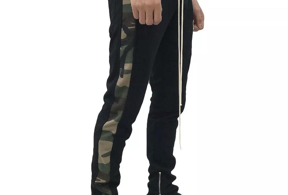 Calça Track Pants Preto No Camuflado de Sarga