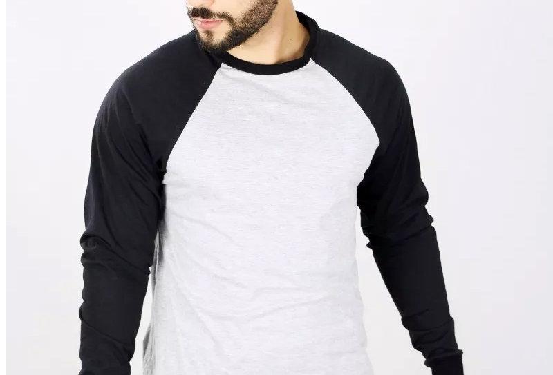 Camiseta Raglan Básica Manga Longa Barra Reta 100% Algodão Preto no Cinza