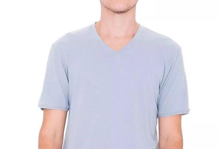 Camisa Básica Lisa Gola V Funda 100% Algodão Azul Claro