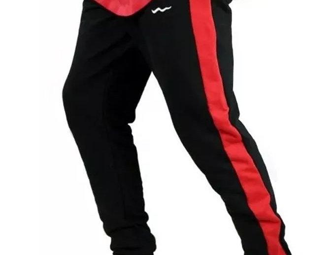 Calça Track Pants Moletom Fitness Vermelho no Preto