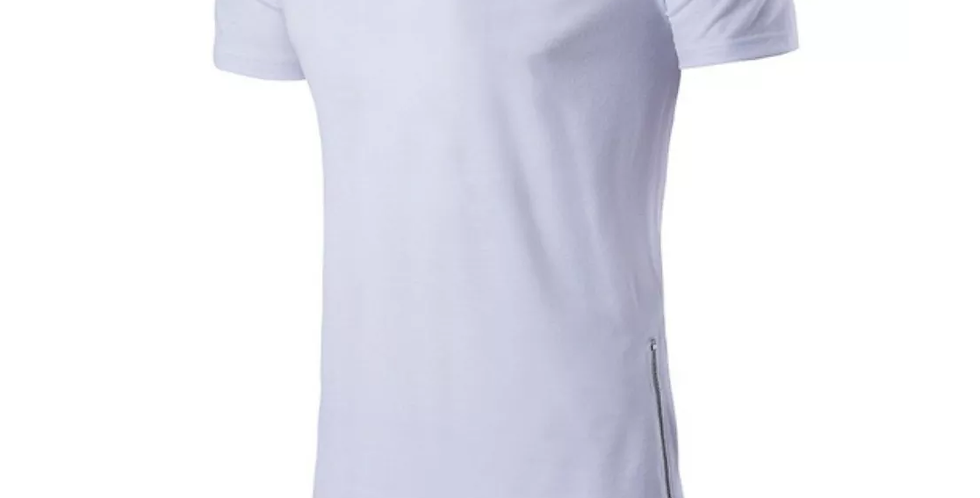 Camisa Longline Oversized Zíper Lateral Redonda Swag Bordada Branca