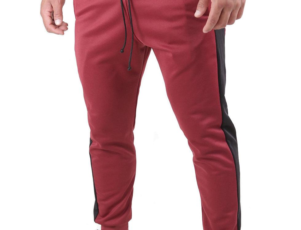 Calça Listrada Track Pants Colegial Fitness Jogger Meio Swag Vermelho com Preto