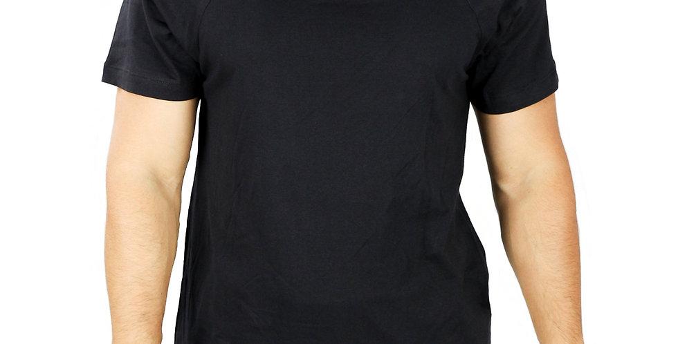 Camiseta Raglan Básica Manga Curta Algodão Preto