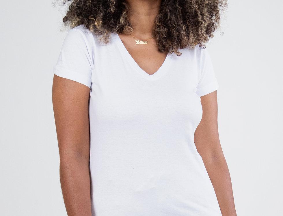 Camiseta Básica Gola V 100% Algodão Branca