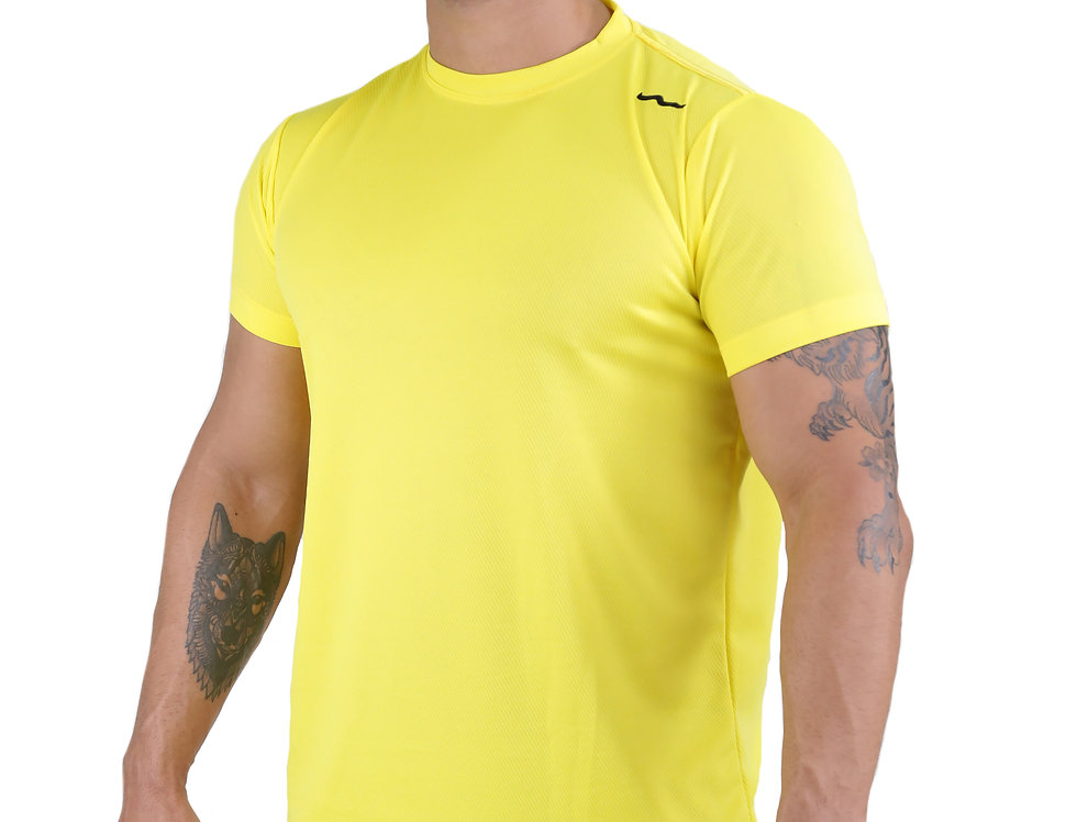 Camiseta Track Dry Fit Lisa Academia Running Atletico Amarelo