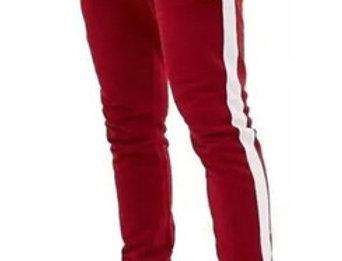 Calça Track Pants Moletom Fitnes Vermelho no Branco