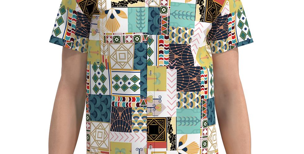 Camisa Estampa Total Egito De Botão Manga Curta Meio Swag