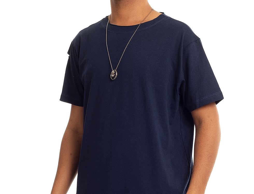 Camiseta Longline Oversized Destroyed Rasgada Barra Redonda Azul Escuro