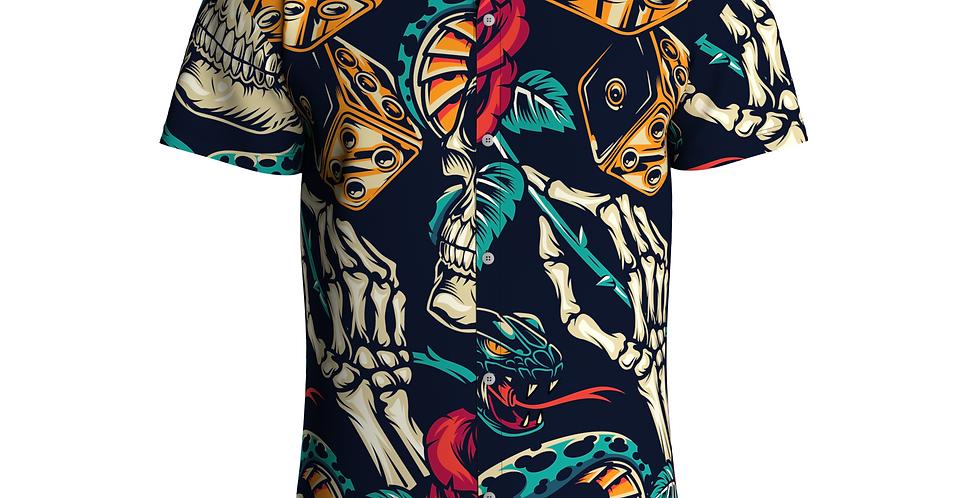 Camisa Estampa Total Caveira De Botão Manga Curta