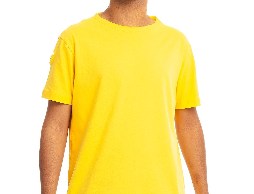 Camiseta Longline Oversized Destroyed Rasgada Barra Redonda Amarela