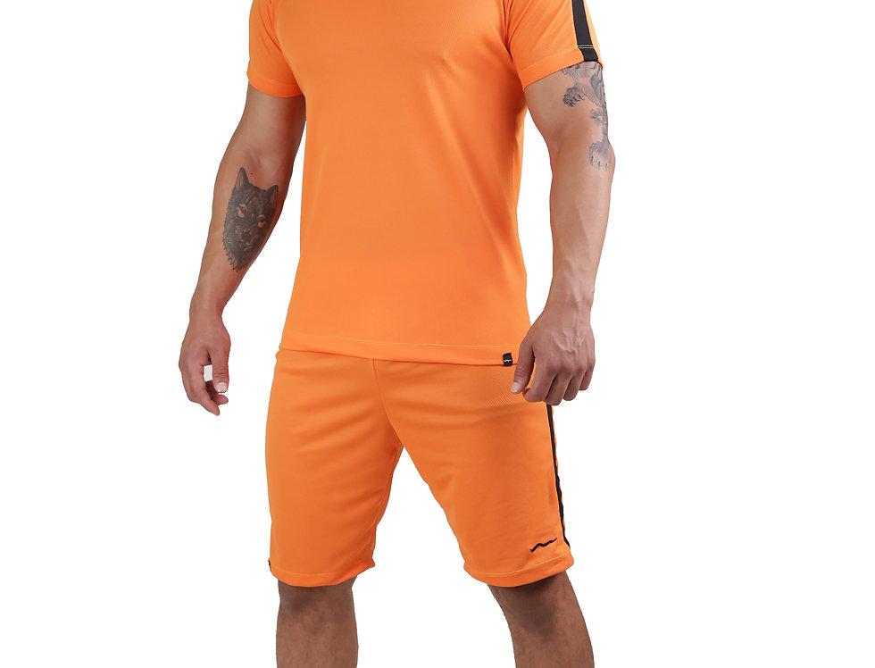 Conjunto Dry Fit Academia Camisa E Bermuda Running Atletico Laranja com Preto