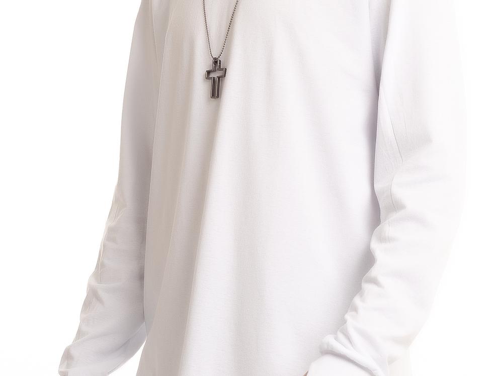 Camisa Longline Oversized Redonda Manga Longa Punho No Dedo Branca