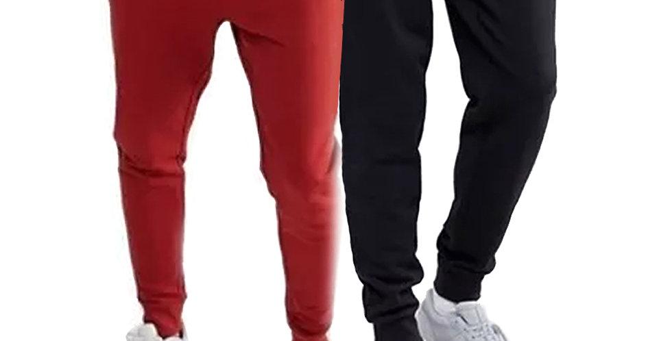 Kit 2 Calça Moletom Moleton Meio Swag Jogger Masculina Básica Preta + Vermelho
