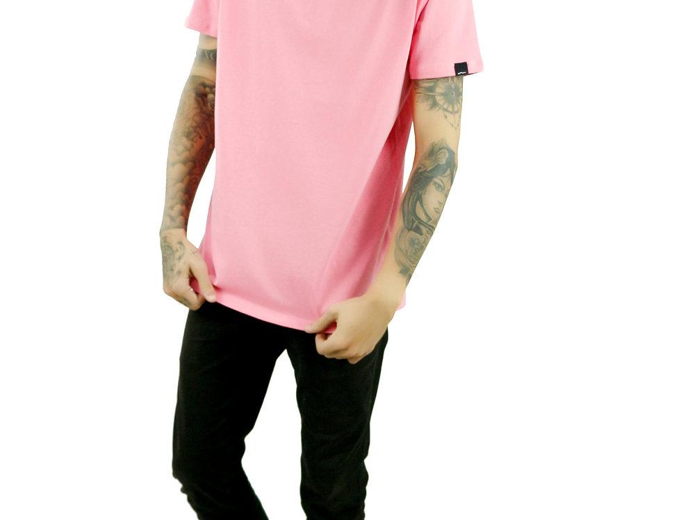 Camiseta Básica Rosa Manga Curta