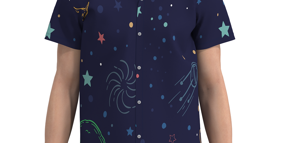 Camisa Estampa Total Galáxia De Botão Manga Curta Meio Swag
