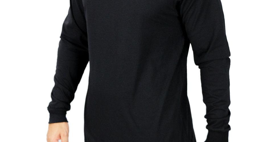 Camiseta Longliver Oversized Manga Longa 100% Algodão Preta
