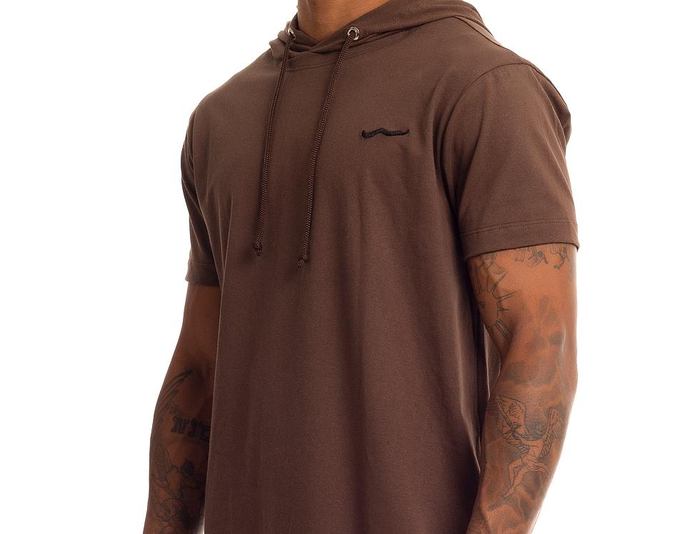 Camisa Longline Oversized Com Capuz Meio Swag Básica Bordada Marrom