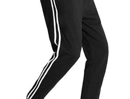 Calça Listrada Faixa Masculina Track Pants Colegial Moletom Preto