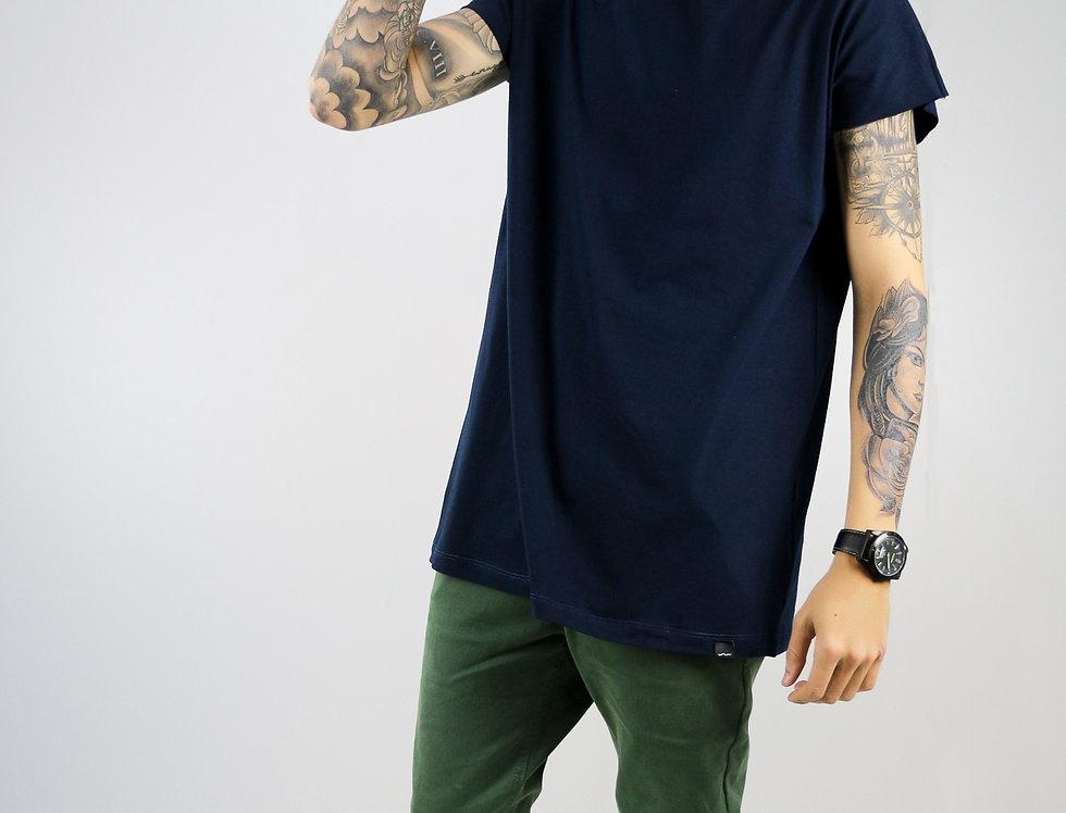 Camiseta Sem Manga Oversized Longline Reta Algodão Meio Swag Azul Marinho