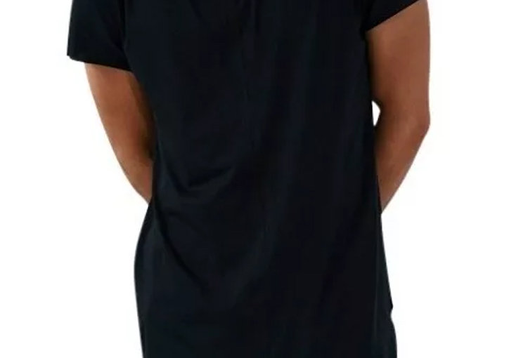 Camiseta Oversized Longline Masculina Básica Canoa Swag Preta