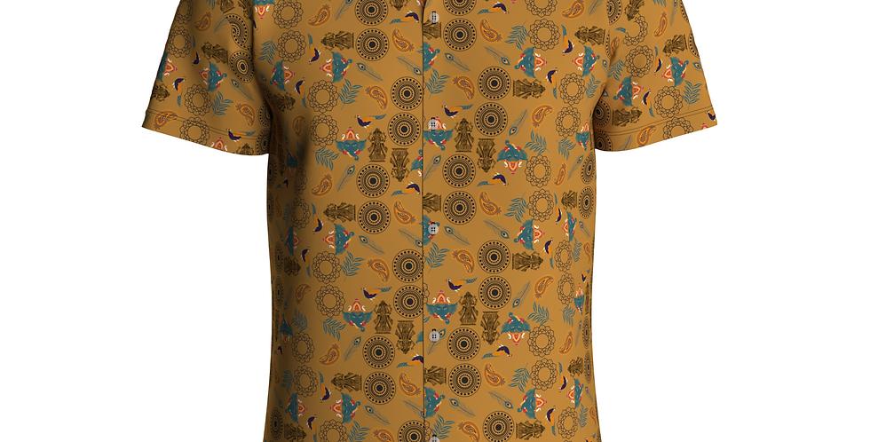 Camisa Estampa Total Indiana De Botão Manga Curta