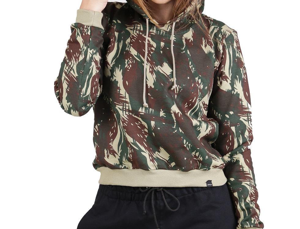 Cropped Moletom Com Capuz Camuflado Feminino Verde