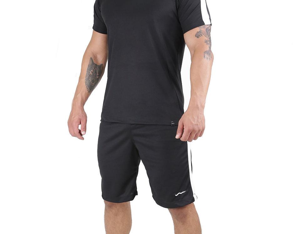 Conjunto Dry Fit Academia Camisa E Bermuda Running Atletico Preto com Branco