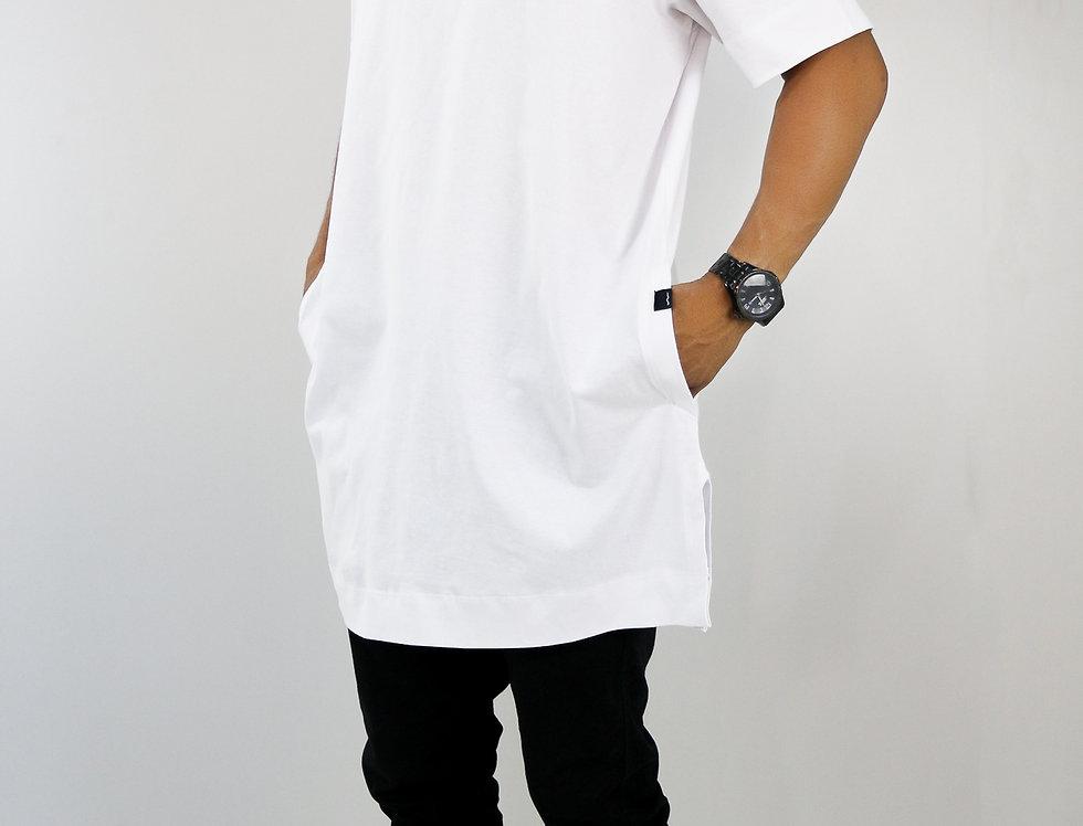Vestido Oversized Longline Reta Algodão Meio Swag Branco