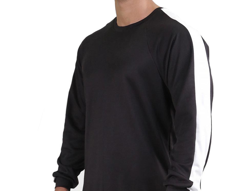 Blusa Listra Lateral Colegial Fitness Meio Swag Preto com Branco