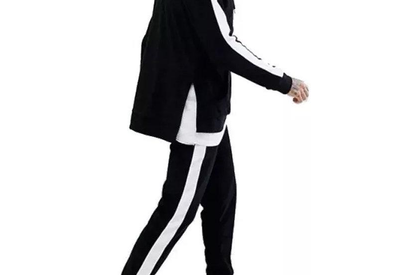 Conjunto Calça e Casaco Track Pants Colegial Fitness Preto no Branco