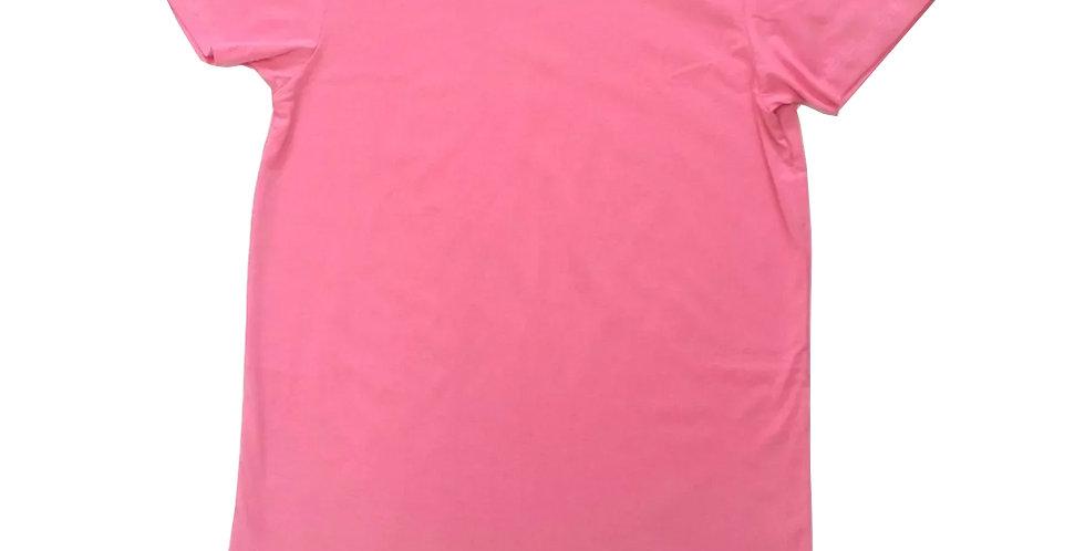 Camiseta Oversized Longline Redonda Infantil - 2 A 16 Anos Rosa