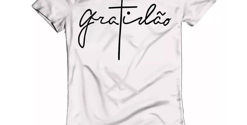 Camiseta Oversized Longline Estampa Gratidão Barra Redonda Branca