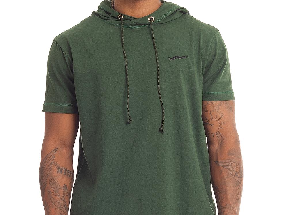 Camisa Longline Oversized Com Capuz Meio Swag Básica Bordada Verde
