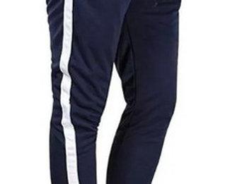 Calça Listrada Masculina Track Pants Moletom Azul com Linha Branca