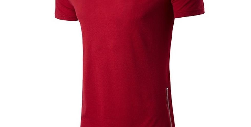 Camisa Longline Oversized Zíper Lateral Redonda Swag Bordada Vermelho