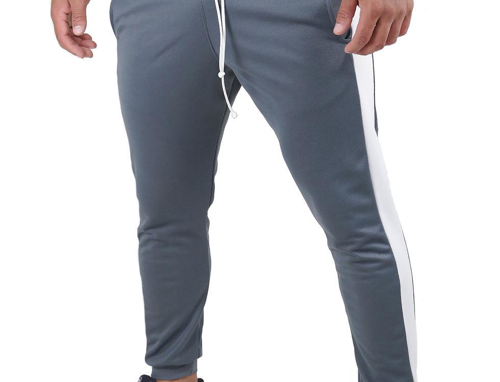 Calça Listrada Track Pants Colegial Fitness Jogger Meio Swag Cinza com Branco