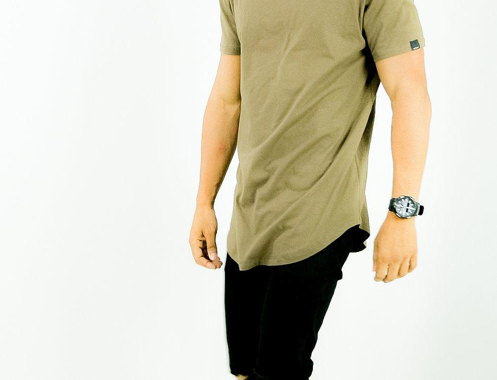 Camiseta Oversized Longline Redonda Meio Swag Marrom