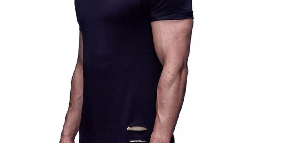 Camisa Rasgada Destroyd Destroida Longline Oversized Bico X Preta